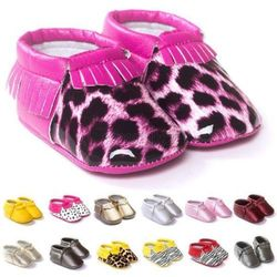 0-12 Months Baby Infant Toddler Tassel Leather Crib Shoes Moccasin Loafers Soft Leopard