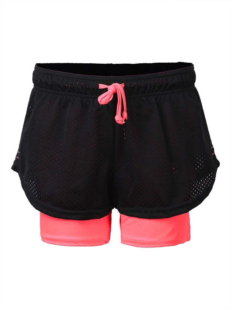 Women Comfort Two-layer Quick-dry Mesh Sports Shorts Elastic Leisure Yoga Panties