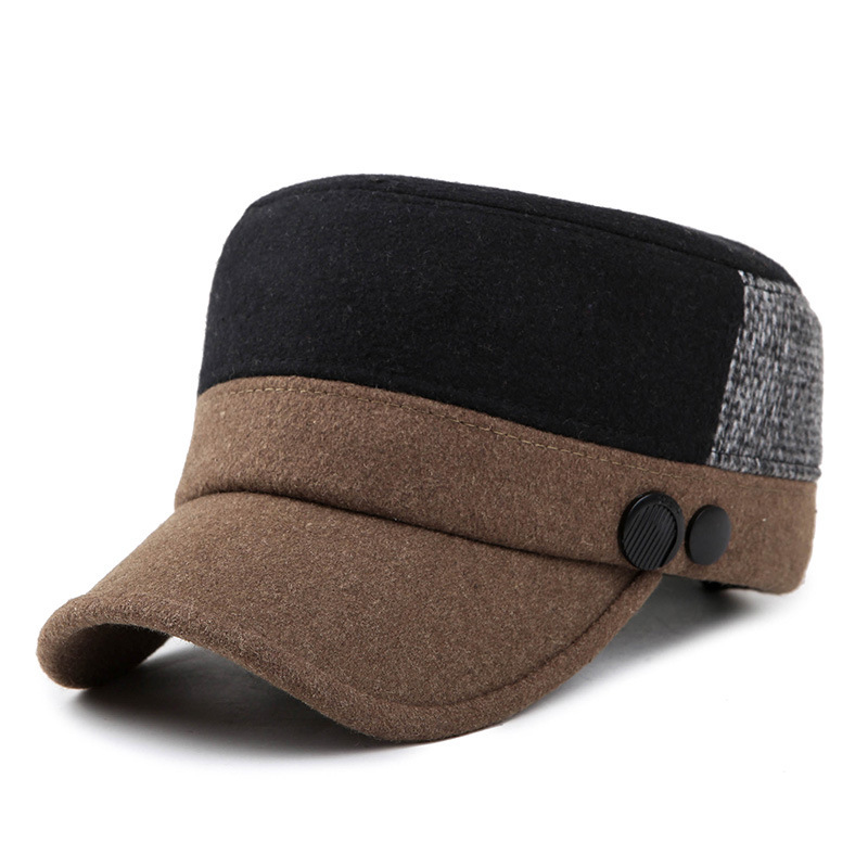 Unisex Woolen Polyester Military Hat Mixed Color Adjustable Outdoor Flat Baseball Cap