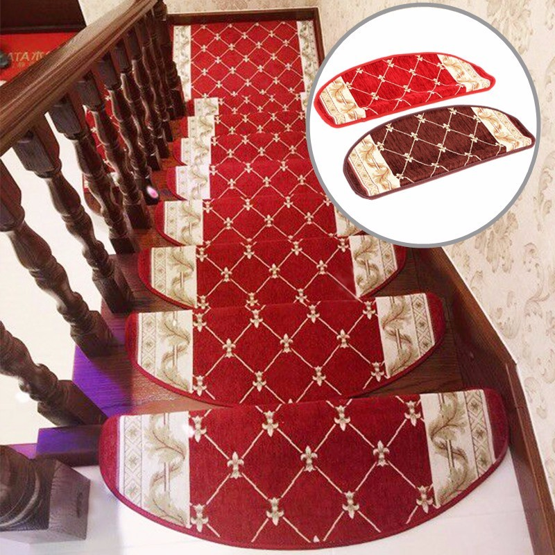European Style Pastoral Carpet Stair Tread Anti Skid Step Rugs Stair Mats With Magic Paste