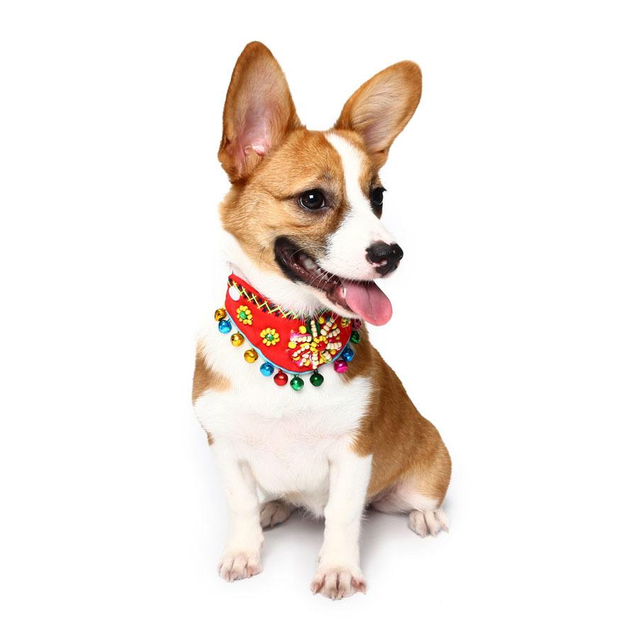 Yani PC1 Pet Ethnic Style Bell Collar Colorful Cute Pet Dog Fashion Collar Cotton Dog Grooming