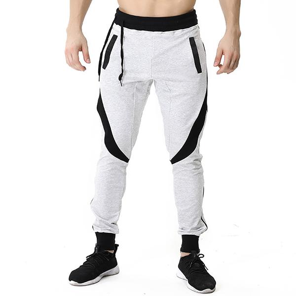 Men's Casual Stitching Color Slim Fit Joggers Sport Pants