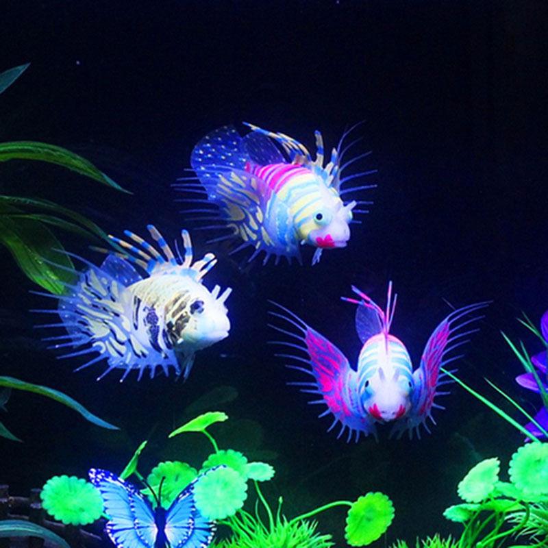 Glow In The Dark Artificial Aquarium Lionfish Ornament Fish Tank Jellyfish Decorations