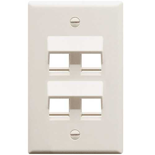 FACEPLATE ANGLED 1-GANG 4-PORT WHITE