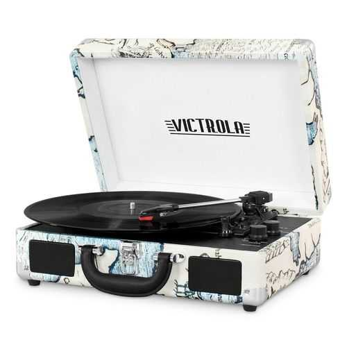 Bluetooth Suitcase Turntable in Map Prin