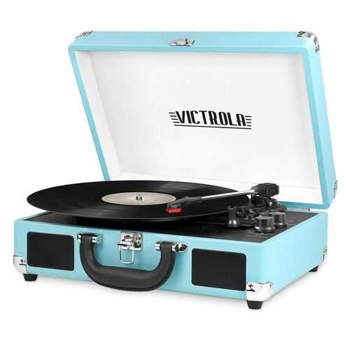 Bluetooth Suitcase Turntable in Turquois