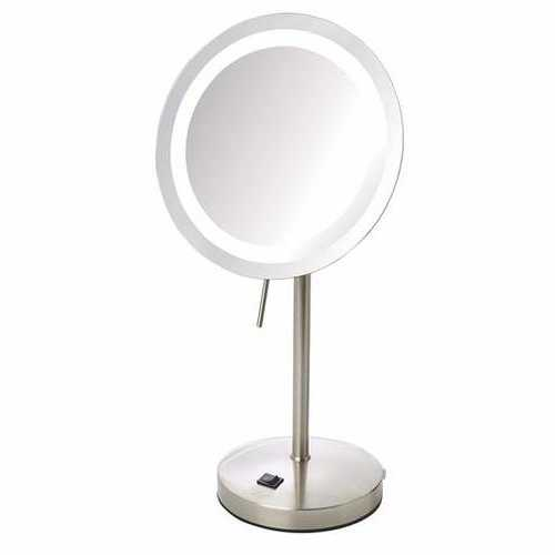8x LED Lighted Table Mirror Nickel