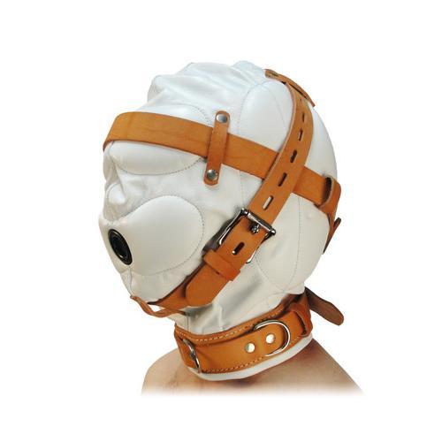 Total Sensory Deprivation White Leather Hood - SmallMedium