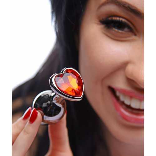 Crimson Tied Scarlet Heart Jewel Anal Plug