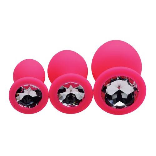 Pink Pleasure 3 Piece Silicone Anal Plugs with Gems