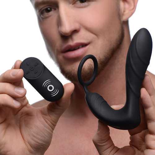 Silicone Prostate Vibrator and Strap with Remote Control