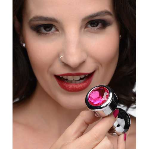 Hot Pink Gem Weighted Anal Plug - Medium