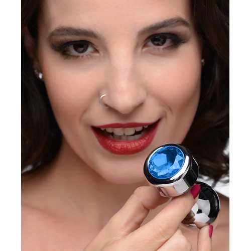 Blue Gem Weighted Anal Plug - Medium