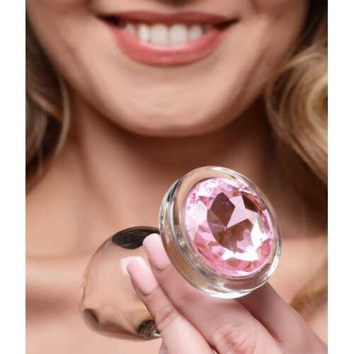 Pink Gem Glass Anal Plug - Large