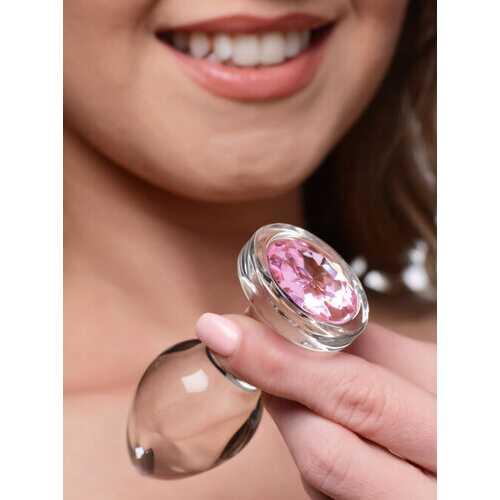 Pink Gem Glass Anal Plug - Medium