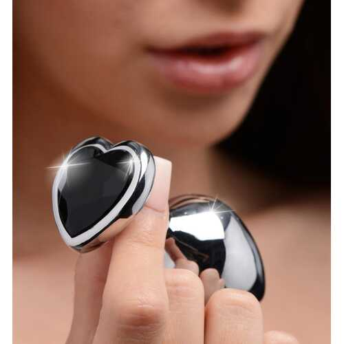 Black Heart Gem Anal Plug - Medium