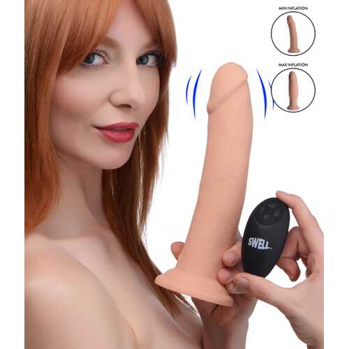 7X Inflatable and Vibrating Remote Control Silicone Dildo - 8.5 Inch