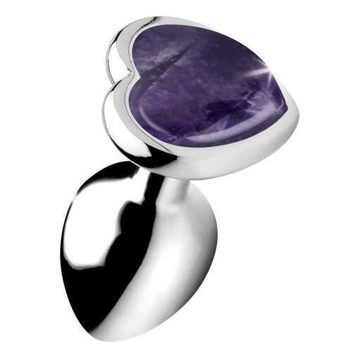Genuine Amethyst Gemstone Heart Anal Plug - Small