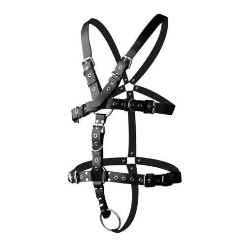 Strict Leather Body Harness with Cock Ring - X-Large