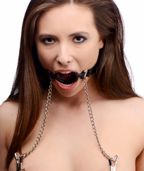 Mutiny Silicone O-Ring Gag with Nipple Clamps