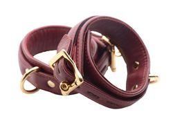 Strict Leather Luxury Burgundy Locking Ankle Cuffs