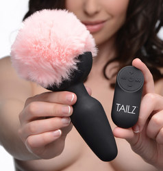 Remote Control Vibrating Pink Bunny Tail Anal Plug