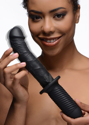 The Large Realistic 10X Silicone Vibrator with Handle