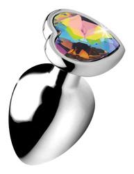 Rainbow Prism Heart Anal Plug - Large