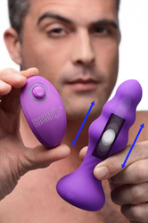7X Slim Ribbed Thumping Silicone Anal Plug