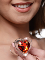 Red Heart Gem Glass Anal Plug - Small