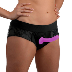 Lace Envy Black Pegging Set with Lace Crotchless Panty Harness and Dildo - L-XL