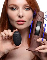 7X Remote Control Vibrating and Thumping Dildo - Dark