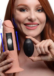 7X Remote Control Vibrating and Thumping Dildo - Light