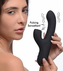 5 Star 13X Silicone Pulsing and Vibrating Rabbit - Black