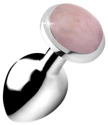 Authentic Rose Quartz Gemstone Anal Plug - Medium