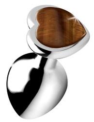 Authentic Tigers Eye Gemstone Heart Anal Plug - Medium