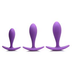 Rump Bumpers 3 Piece Silicone Anal Plug Set - Purple