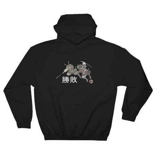 AT2005A Samurai Sword vs Naginata Battle Hoodie Black