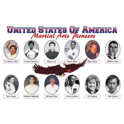 15 USA Martial Arts Pioneers Demura Lee Rhee Kubota Urban Parker Plaque 11x17