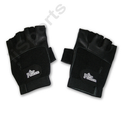Power Up Weightlifter Fingerless Leather LARGE gym weight lifting workout black