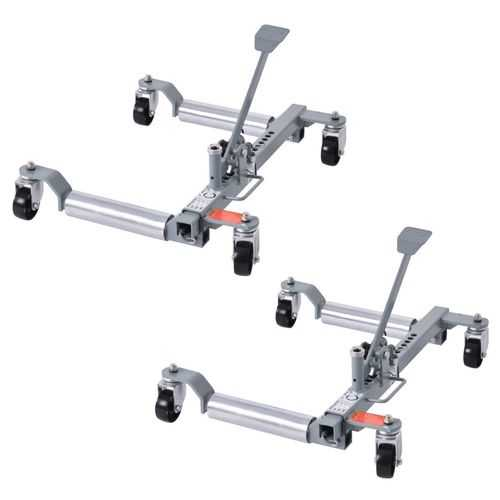 """Set of 2 1250 Lb. Capacity Vehicle Positioning Car 10"""" Wheel Dolly Moving Tire"""