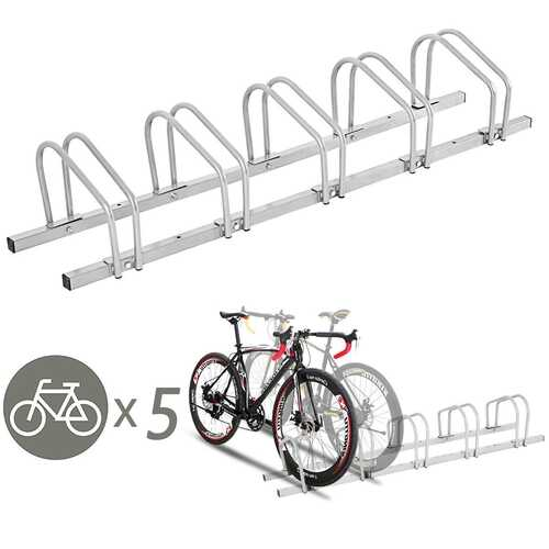 5 Bicycle Stand Parking Rack Garage Storage Organizer-Silver