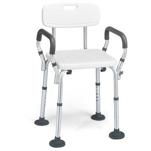 Shower Chair Spa Bathtub with Removable Armrests and Back