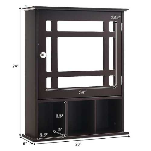 Wall Mounted and Mirrored Bathroom Cabinet-Brown