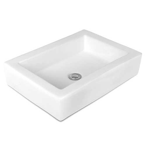 """22.5"""" x 16"""" Rectangle Bathroom Vessel Sink with Pop-up Drain"""