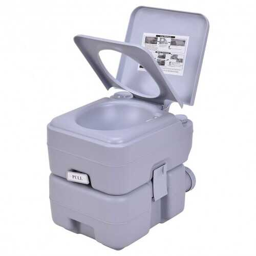 5 Gallon 20 L Outdoor / Indoor Potty Commode Portable Flush Toilet-Gray