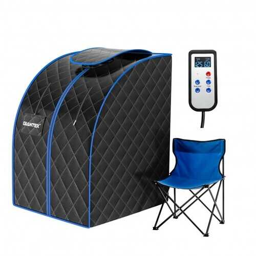 Portable Personal Far Infrared Sauna with Heating Foot Pad and Chair-Black - Color: Black