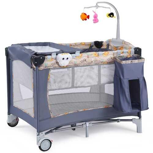 Foldable 2 Color Baby Crib Playpen Playard-Gray