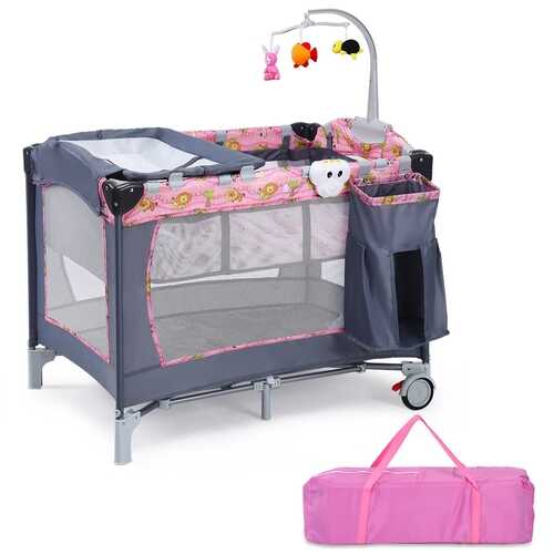 Foldable 2 Color Baby Crib Playpen Playard-Pink