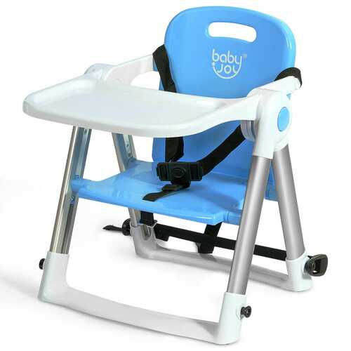 Baby Booster Folding Travel High Chair with Safety Belt & Tray-Blue - Color: Blue